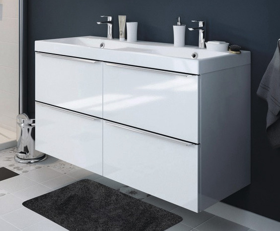 meuble sous vasque suspendre blanc imandra l 120 x. Black Bedroom Furniture Sets. Home Design Ideas
