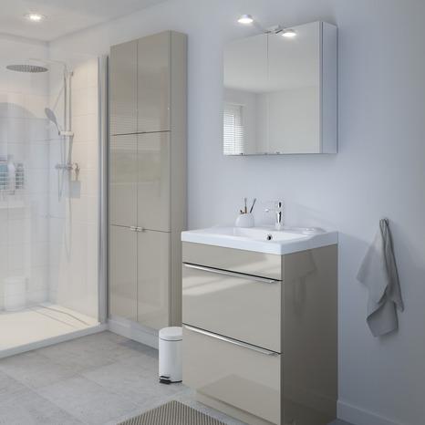 meuble sous vasque poser taupe imandra l 60 x h 82 x p 45 cm brico d p t. Black Bedroom Furniture Sets. Home Design Ideas