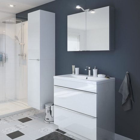 meuble sous vasque poser blanc imandra l 80 x h 82. Black Bedroom Furniture Sets. Home Design Ideas