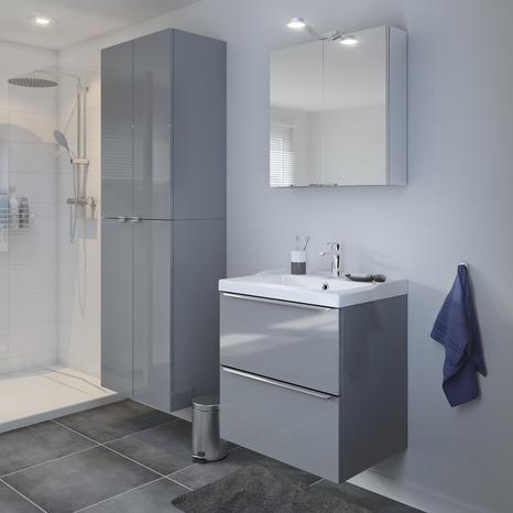 armoire murale gris imandra l 60 x h 90 x p 36 cm brico d p t. Black Bedroom Furniture Sets. Home Design Ideas
