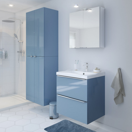 Armoire murale bleu imandra l 60 x h 90 x p 36 cm for Salle de bain imandra