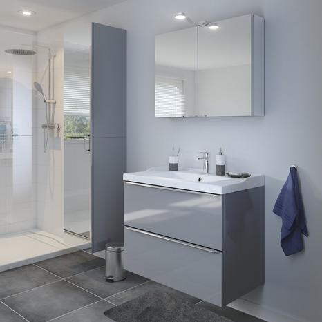 armoire murale miroir gris imandra l 40 x h 90 x p 36 cm brico d p t. Black Bedroom Furniture Sets. Home Design Ideas