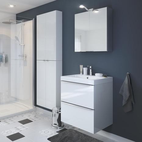 armoire murale miroir blanc imandra l 60 x h 90 x p 36 cm brico d p t. Black Bedroom Furniture Sets. Home Design Ideas
