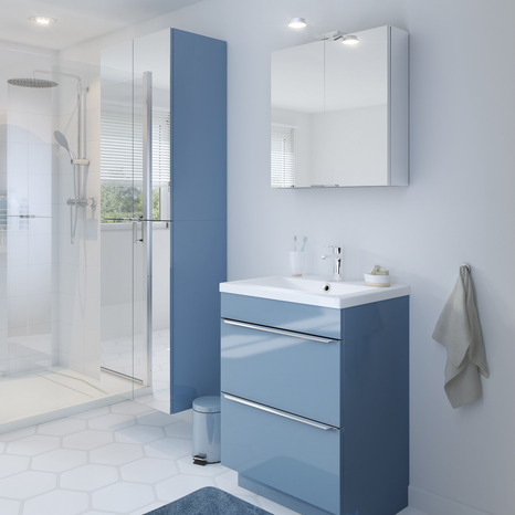 armoire murale miroir bleu imandra l 60 x h 90 x p 36 cm brico d p t. Black Bedroom Furniture Sets. Home Design Ideas