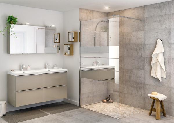 paroi walk in beloya h 195 x l 120 cm verre effet miroir larg ext de 117 5 120 cm. Black Bedroom Furniture Sets. Home Design Ideas