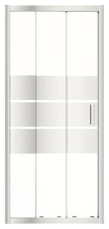 Porte coulissante 3 volets beloya h 195 x l 82 5 cm verre effet miroir larg ext de 77 5 - Porte de douche coulissante 3 volets ...