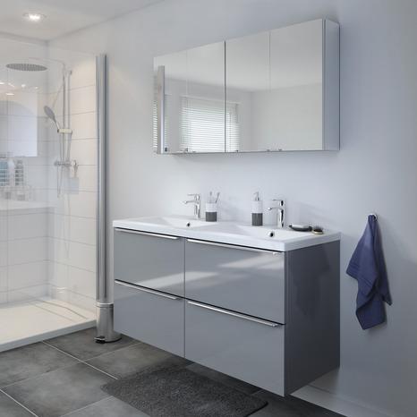 meuble sous vasque suspendre gris imandra l 120 x h. Black Bedroom Furniture Sets. Home Design Ideas