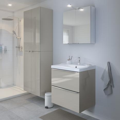 meuble sous vasque suspendre taupe imandra l 60 x h 60 x p 45 cm brico d p t. Black Bedroom Furniture Sets. Home Design Ideas