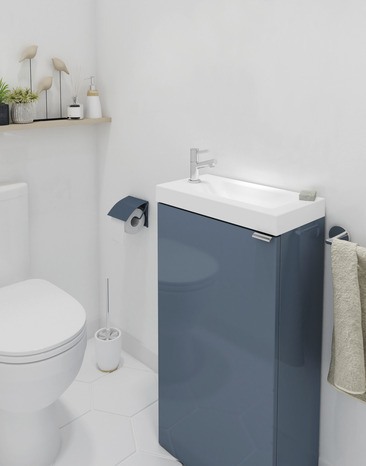 lave mains poser bleu imandra l 44 x h 79 x p 23 cm l 44 x h 79 x p 23 cm brico d p t. Black Bedroom Furniture Sets. Home Design Ideas
