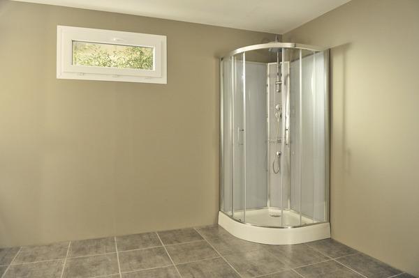 cabine de douche gris profilés en aluminium chromé h 225
