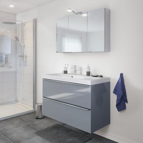 meuble sous vasque suspendre gris imandra l 100 x h. Black Bedroom Furniture Sets. Home Design Ideas