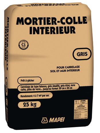 Mortier colle gris pour carrelage 25 kg brico d p t for Ciment colle pour carrelage piscine