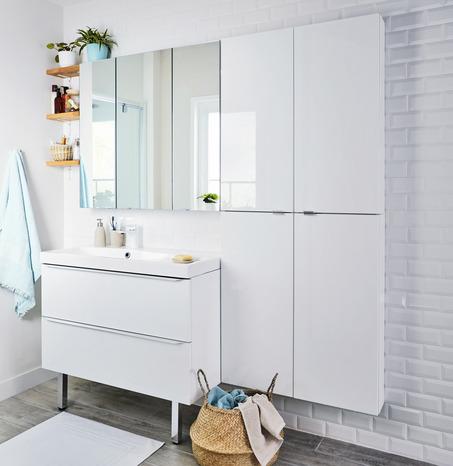 Meuble sous vasque suspendre blanc imandra l 100 x for Meuble imandra