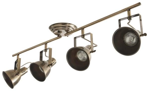 spot 4 lumiere antik brass asterion gu10 brico d p t. Black Bedroom Furniture Sets. Home Design Ideas