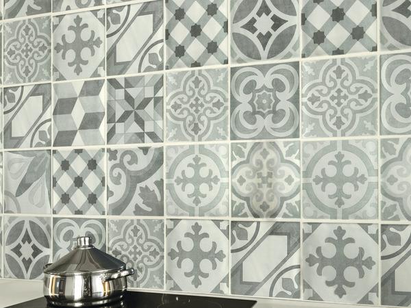 lambris pvc imitation carreaux de ciment brico d p t. Black Bedroom Furniture Sets. Home Design Ideas