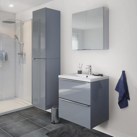 meuble suspendre gris imandra l 60 x h 60 x p 45 cm brico d p t. Black Bedroom Furniture Sets. Home Design Ideas
