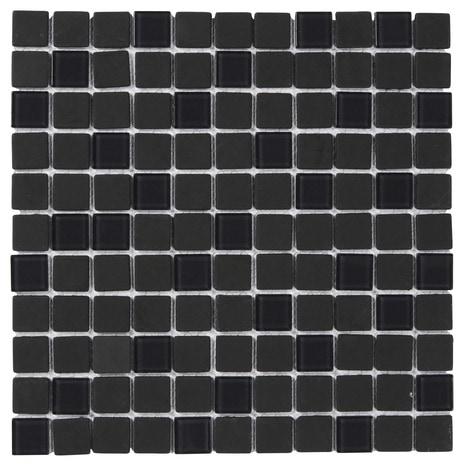 mosa que verre 30x30 genovia noire brico d p t. Black Bedroom Furniture Sets. Home Design Ideas