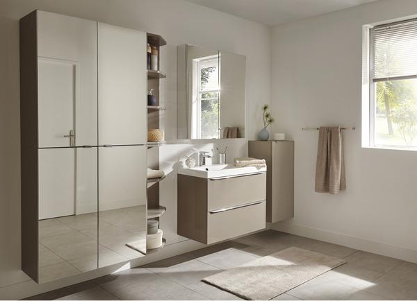 meuble sous vasque suspendre taupe imandra l 80 x h 60 x p 45 cm brico d p t. Black Bedroom Furniture Sets. Home Design Ideas