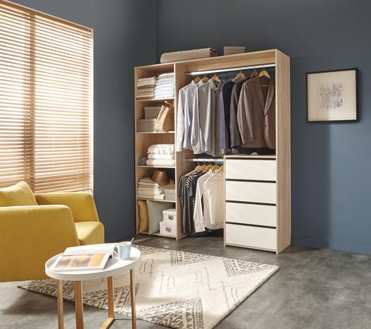 dressing d cor imitation ch ne avec bloc tiroir l 180 cm. Black Bedroom Furniture Sets. Home Design Ideas