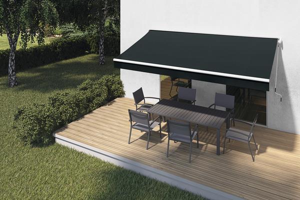 store banne manuel avec semi coffre toile acrylique. Black Bedroom Furniture Sets. Home Design Ideas