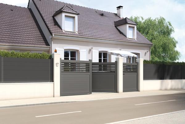 Portail aluminium battant vento gris anthracite l 3 06 x h 1 60 m brico d p t for Cloture aluminium anthracite