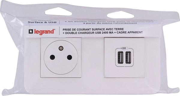 Prise De Courant Chargeur 2 Usb Mosaic Cadre Saillie 16 Ampères 250 V Legrand