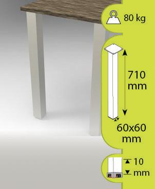 Pied carré pour table haute 60x60 mm H. 710 mm - Brico Dépôt