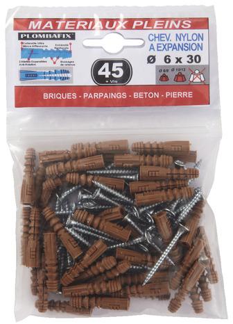 de 25 chevilles à expansion en nylon Ø 8 mm et vis 5x45 mm