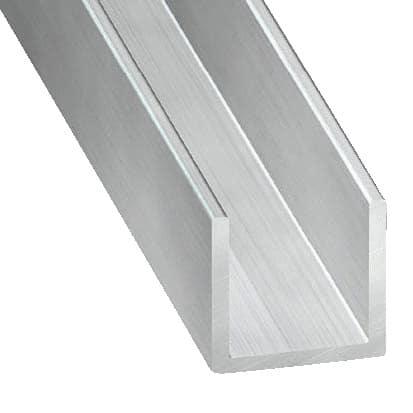 profil en u aluminium brut l 2 m 15x10 mm int rieur 7 mm brico d p t. Black Bedroom Furniture Sets. Home Design Ideas
