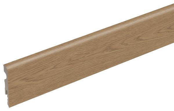 plinthe en bois avec rev tement film ch ne co 220x68x9 5 mm brico d p t. Black Bedroom Furniture Sets. Home Design Ideas