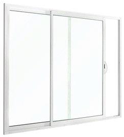 Baie vitr e coulissante en aluminium blanc h 215 cm x l 240 cm x ep 50 mm brico d p t for Porte fenetre 240 x 215