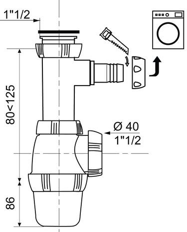 Siphon D évier Avec Prise Machine à Laver Hauteur Réglable De 166 à