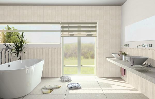 Faïence beige aspect brillant pour salle de bains 5x25 cm