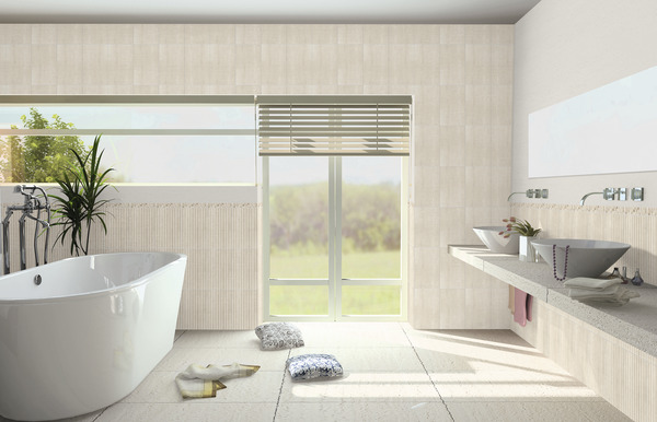 Fa ence beige aspect brillant pour salle de bain 25x40 cm - Faience salle de bain chocolat beige ...