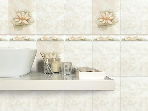 Faïence beige aspect brillant pour salle de bains 20x25 cm Ep. 7,5 cm