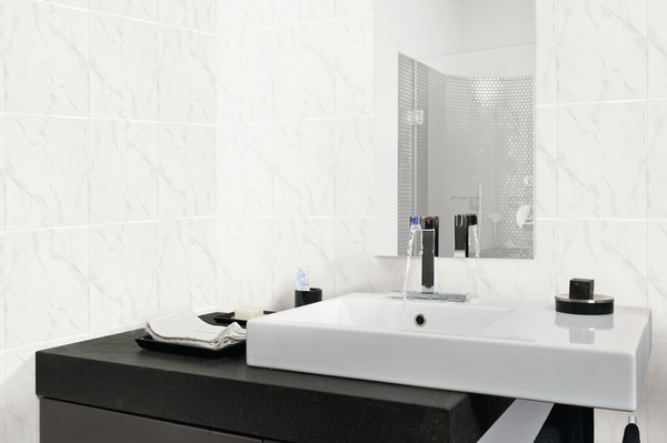 faence marbre carrara aspect brillant pour salle de bain 25x33 cm brico dpt