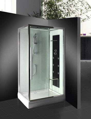 cabine de douche rectangulaire avec porte coulissante 120x80 cm brico d p t. Black Bedroom Furniture Sets. Home Design Ideas