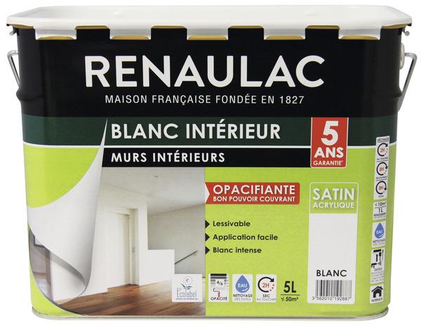 Peinture Acrylique Blanc Satin Pour Les Murs Et Plafonds  L
