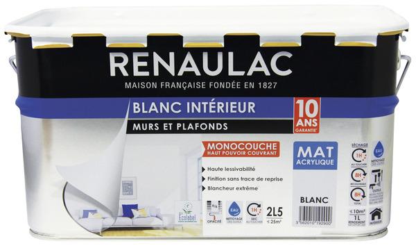 Peinture Blanche Acrylique Aspect Mat Pour Murs Plafonds 5 L Renaulac