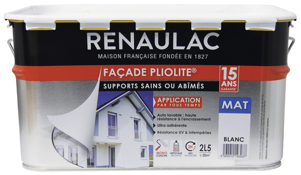 peinture de fa ade pliolite blanc mat monocouche 2 5 l. Black Bedroom Furniture Sets. Home Design Ideas