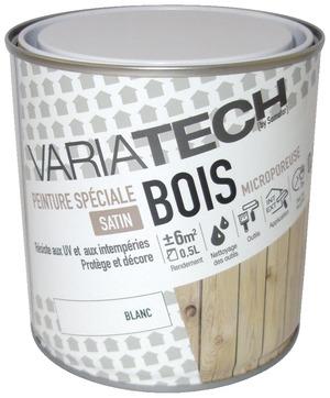 Peinture acrylique satin blanc boiseries menuiseries portes etc ext rieur 0 5 l variatech for Peinture pour plastique exterieur brico depot
