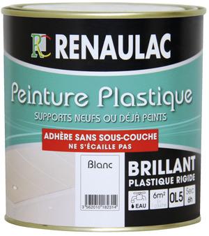 Peinture plastique 0 5 l blanc brillant renaulac brico for Peinture plastique
