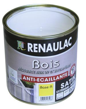 Peinture bois 0 5 l blanc renaulac brico d p t for Peinture pour plastique exterieur brico depot