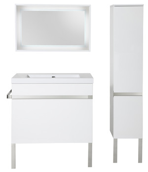 Meuble new york blanc 80 cm brico d p t for Miroir new york brico depot