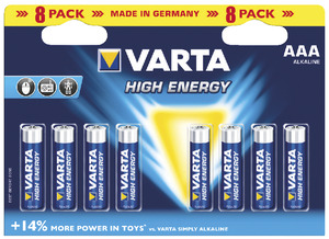 Lot de 8 piles alcalines AAA/LR03 HIGH ENERGY - VARTA - Brico Dépôt