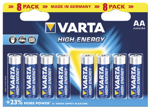 Lot de 8 piles alcalines AA/LR6 HIGH ENERGY - VARTA - Brico Dépôt