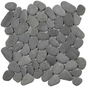 Plaque de galets ronds gris sur filet brico d p t for Carrelage galet plat