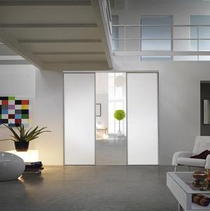 Porte coulissante de colori blanc vein en ppsm h 2 5 m for Panneau melamine brico depot