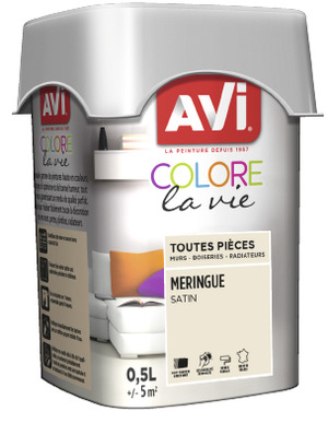 PEINTURE MULTI-SUPPORT 0,5L SATIN MERINGUE MERINGUE 0,5 L - AVI - Brico Dépôt