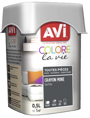 PEINTURE MULTI-SUPPORT 0,5L SATIN CRAYON MINE CRAYON MINE 0,5 L - AVI - Brico Dépôt